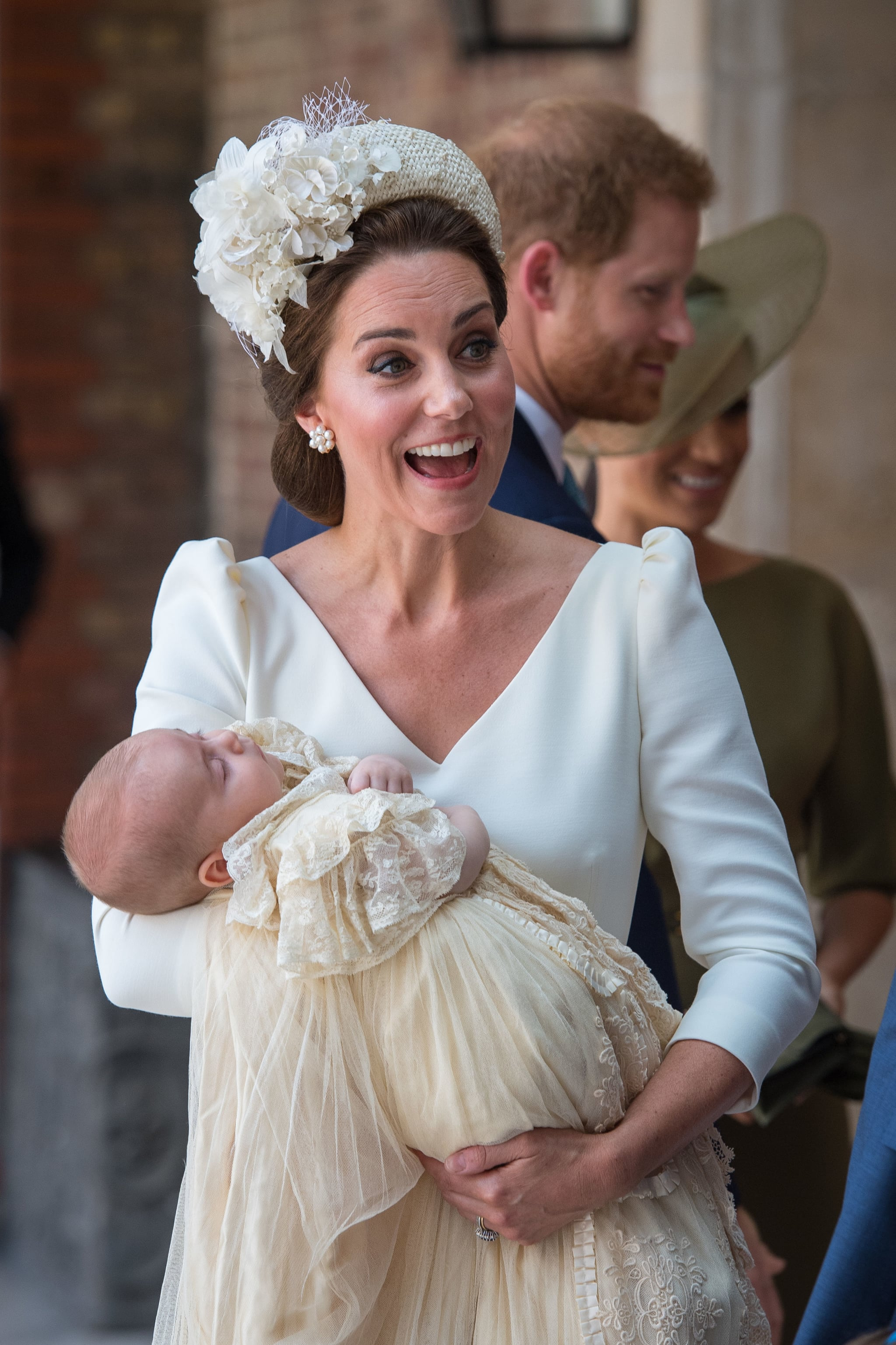 LONDON, ENGLAND - JULY 09: Catherine, Duchess of Cambridge carries Prince Louis of Cambridge at his christening service at St James's Palace on July 09, 2018 in London, England. (Photo by Dominic Lipinski - WPA Pool/Getty Images)