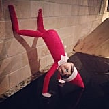 Tell the kids that handstand push-ups get the Elf in tip-top shape, but you know he's twerking.