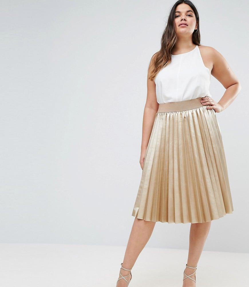 Elvi Premium Metallic Pleated Skirt