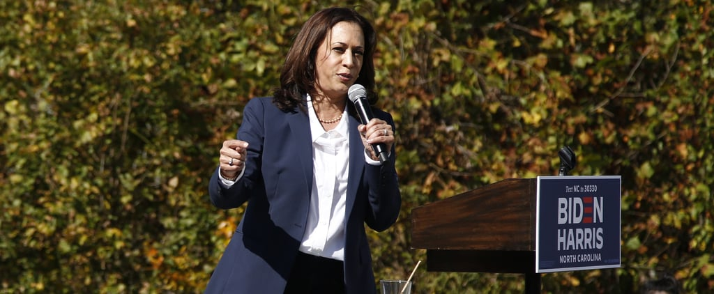 Kamala Harris Wearing White Kenneth Cole Sneakers and a Suit