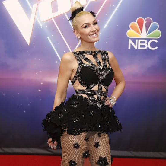 Gwen Stefani's Black Net Charbel Zoe Dress on The Voice