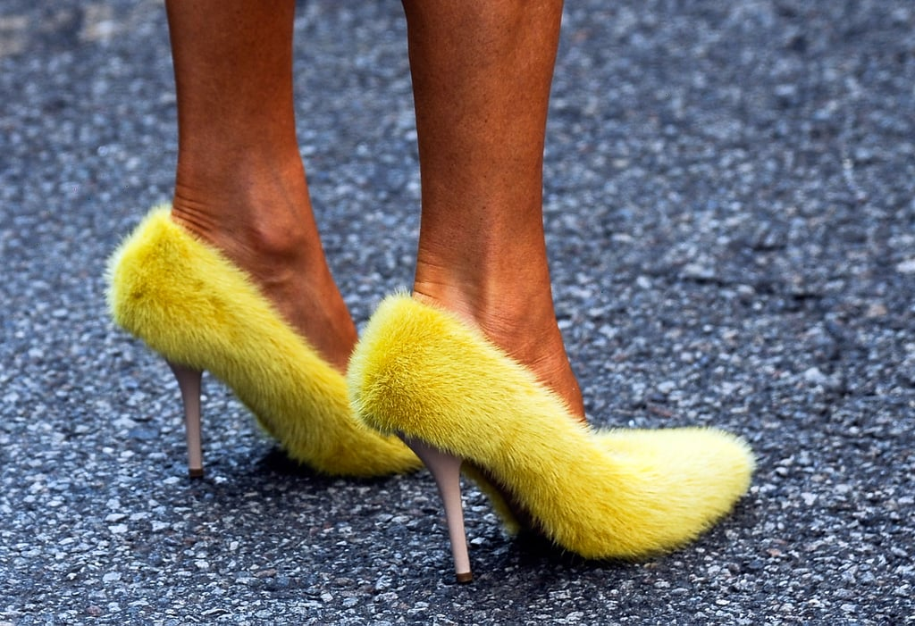 Big Bird? Nope, that's Anna Dello Russo in Céline's fuzzy yellow pumps.