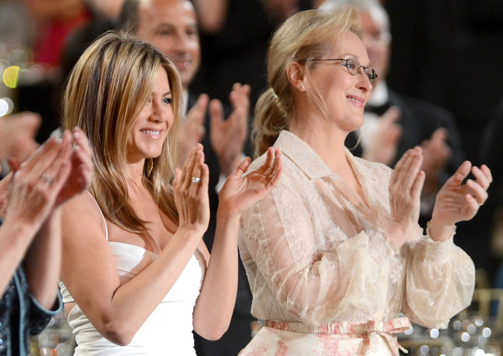 Jennifer Aniston and Meryl Streep applauded at the AFI Life Achievement Award dinner honouring Shirley MacLaine in LA.