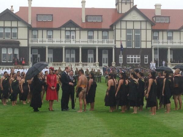 Kate and Will greeted people in traditional Maori garb. Source: Twitter user byEmilyAndrews