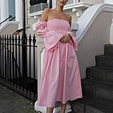 The Drop Candy Pink Off-Shoulder Tiered Puff-Sleeve Midi Dress by @leoniehanne