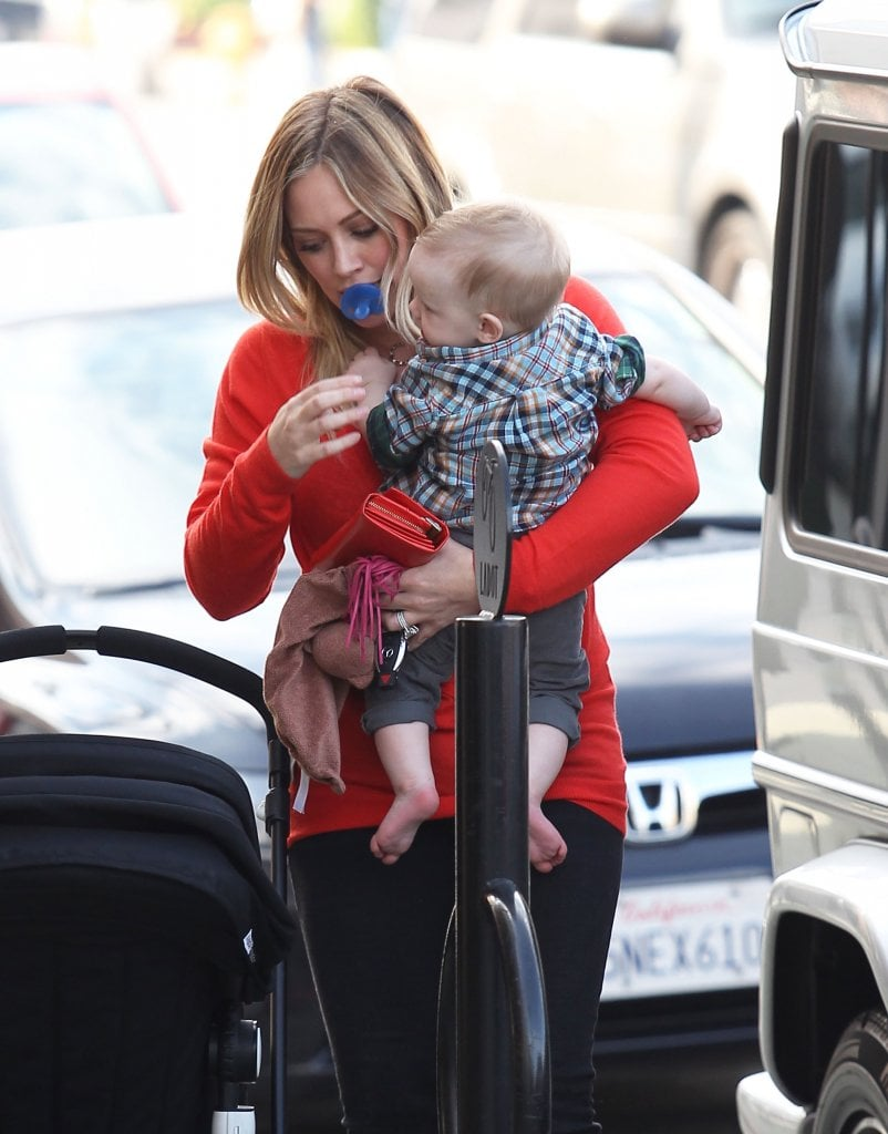 Hilary Duff held Luca Comrie in Studio City.