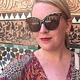 2 p.m: We head to the souks for a shopping trip. It's 110 degrees, and my pale skin is suffering! Though the souks themselves are in the shade, the surrounding streets and the Mosquée Ben Youssef that we visit on the way definitely are not. I can feel the sweat pooling, and I'm glad I have big sunglasses to hide any mascara smudges. But that lipstick, somehow, remains intact.
