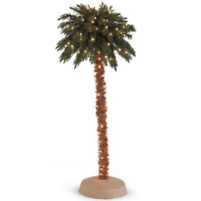 6' Pre-Lit Palm Christmas Tree