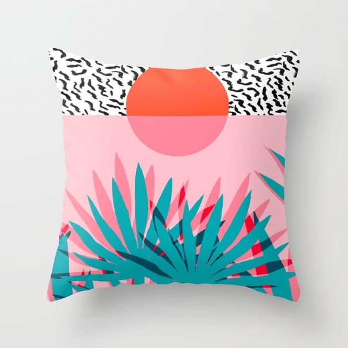 Palm Sunrise Throw Pillow Cover