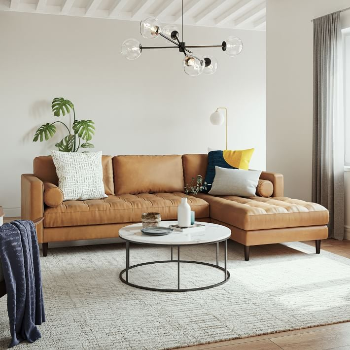 West Elm Dennes Leather 2-Piece Chaise Sectional