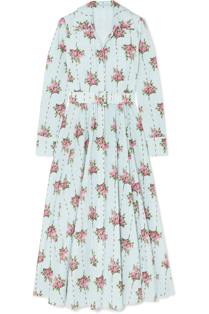 Emilia Wickstead Aurora Belted Floral Print Swiss Dot Seersucker Dress