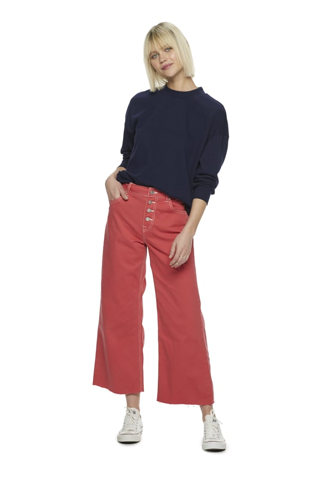 c8166c5a63 POPSUGAR at Kohl's Button Front Wide Leg Crop in Fiery Red | Top ...