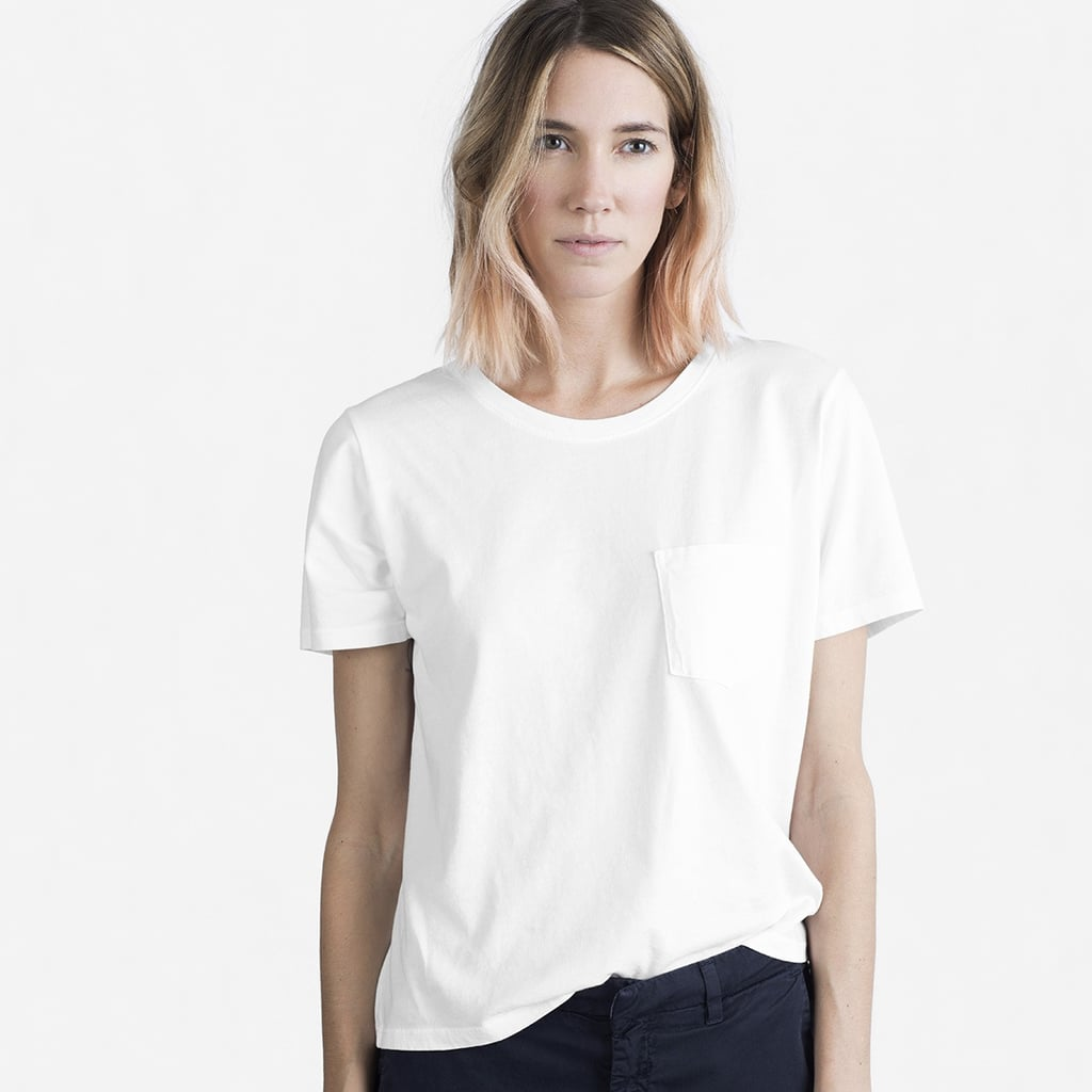 No one does luxe basics like The Row (we're currently drooling over the brand's cozy cashmere sweaters), so it's not a surprise that the Olsens's take on the white T-shirt doesn't skimp on details, like a silk-trimmed back seam.