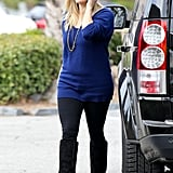 Reese Witherspoon beat the blues in a cobalt Vkoo sweater and matching striped beanie in LA.