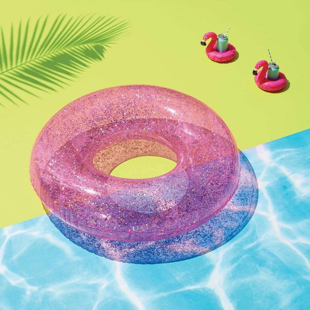 Glitter Tube Pool Float Pink