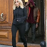 Kim Covered Up in a Bell-Sleeved Jacket
