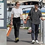 Sophie Turner in an Oversized White Tee and Jeans in 2019