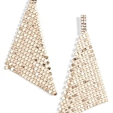 Leith Crystal Crystal & Chain Mail Triangle Earrings