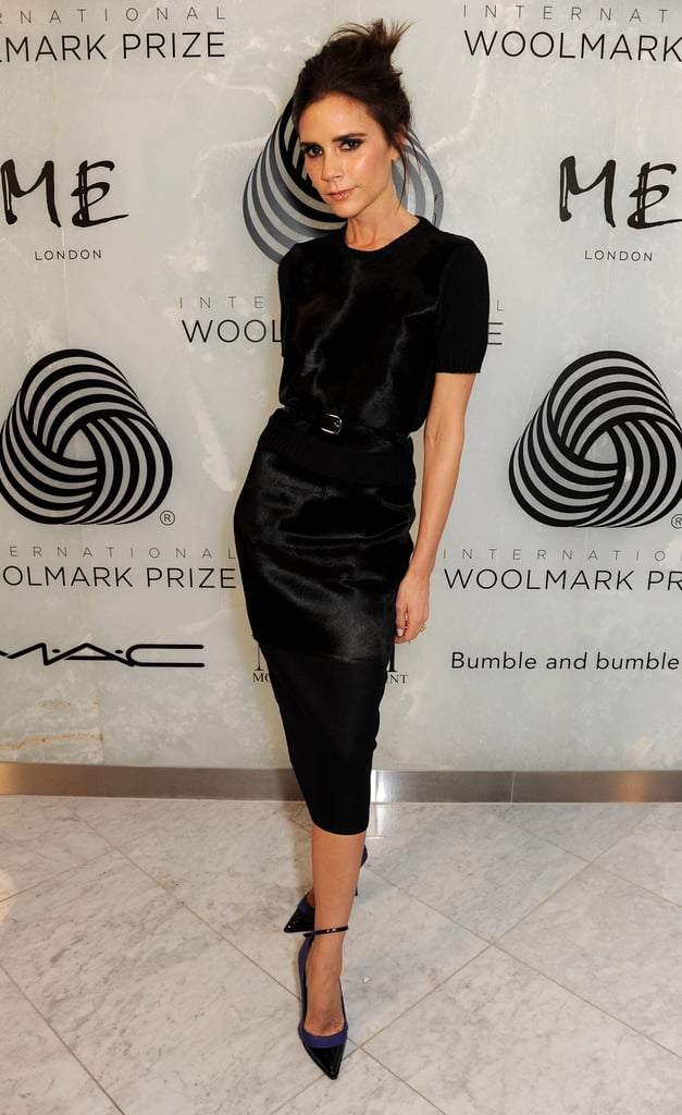 Victoria Beckham created a ladylike ensemble with all black while out for the International Woolmark Prize Final during London Fashion Week.
