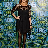 Laura Prepon kept it classic at HBO's afterparty in a black lace LBD and tights.
