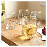 Cathy's Concepts Monogram Stemless Wine Glasses
