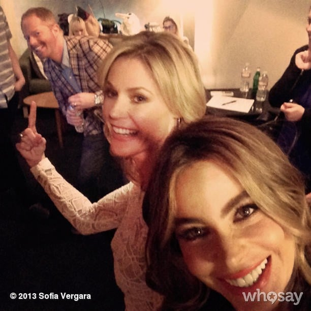 Modern Family stars Jesse Tyler Ferguson, Sofia Vergara, and Julie Bowen clowned around backstage before their appearance on Jimmy Kimmel Live. Source: Instagram user sofiavergara