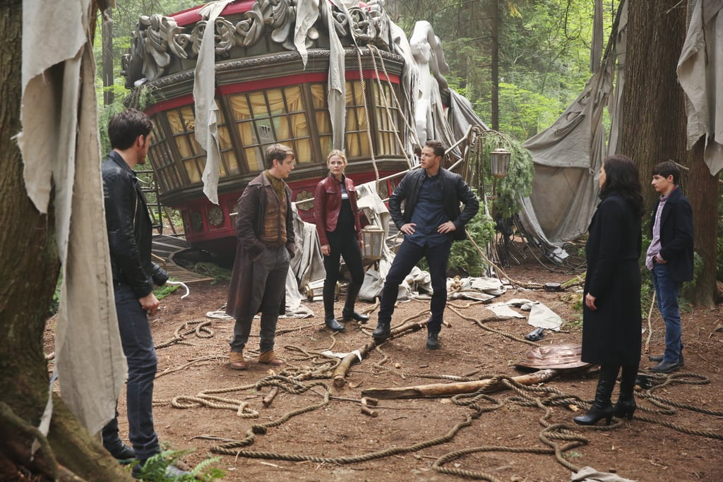 Pictured (left to right): Colin O'Donoghue as Captain Hook, Hank Harris as Dr. Jekyll, Jennifer Morrison as Emma Swan, Josh Dallas as Prince Charming, Lana Parrilla as Regina, Jared S. Gilmore as Henry Mills.