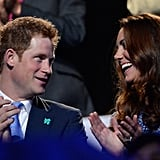 Prince Harry and the Duchess of Cambridge chatted together in the stands during the closing ceremony of the 2012 Olympics.