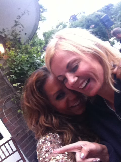 Mel B and Emma Bunton were all smiles during rehearsals.  Source: Twitter user OfficialMelB