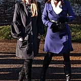 Princess Beatrice and Princess Eugenie linked up while leaving the 2010 Christmas Day church service in Sandringham, England.