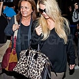 Jessica wore a drapey top at LAX.