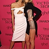 8. Karlie Kloss and Leonardo DiCaprio's girlfriend, Toni Garrn, mugged for the cameras at the fashion show's afterparty.