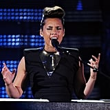 Alicia Keys sang at the Grammys.