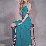 Free People teal ruffle and lace maxi dress (£325)