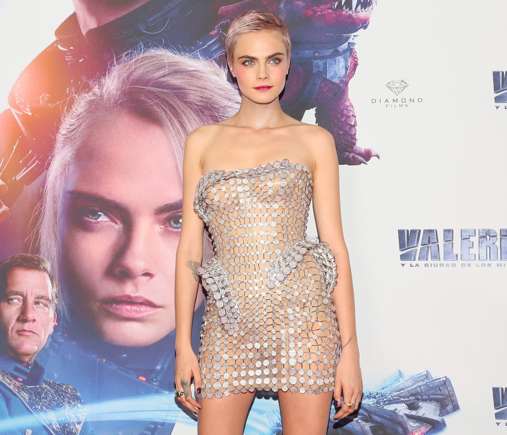 Cara Delevingne Silver See-Through Dress in Mexico City