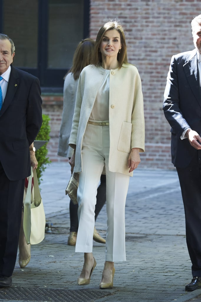 Queen Letizia's White and Beige Outfit June 2016