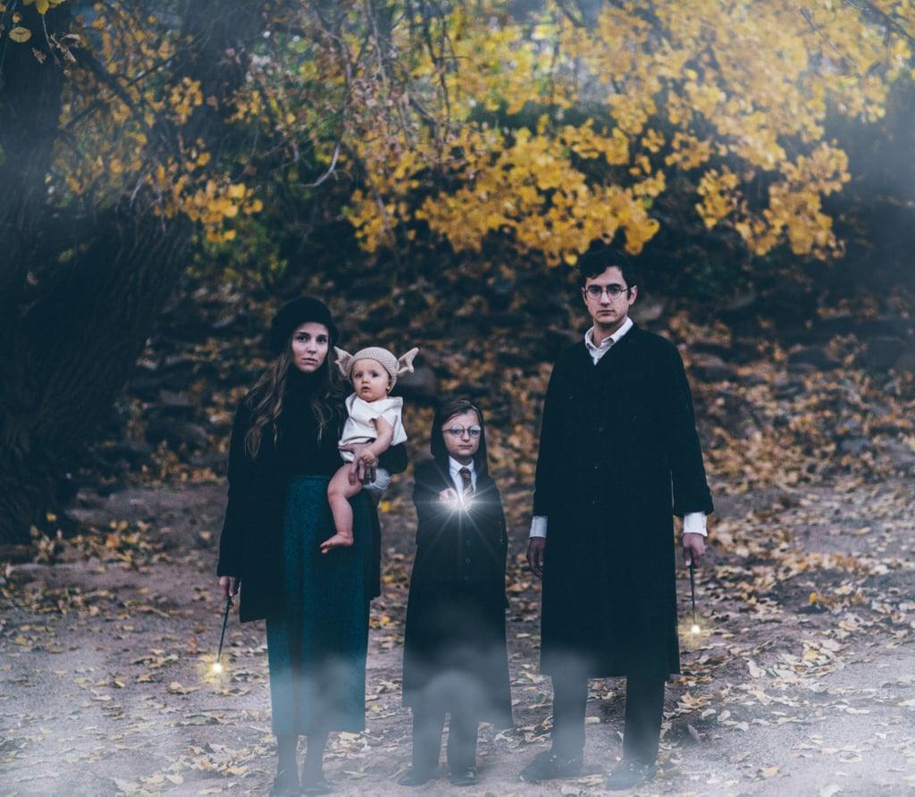 A family Halloween portrait.