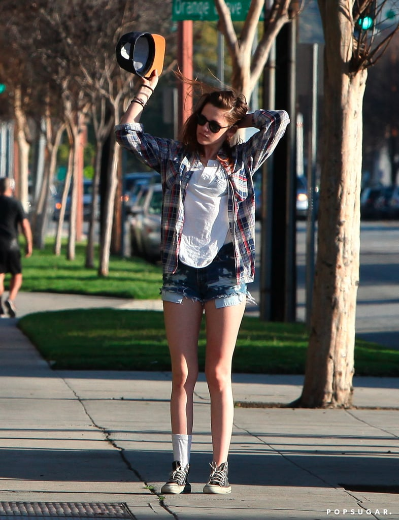 Kristen Stewart went casual at the batting cages.