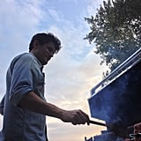 John Mayer flipped burgers during a Labor Day BBQ. Source: Instagram user mrjcmayer