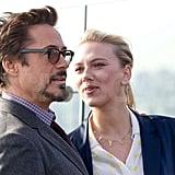 Scarlett Johansson and Robert Downey Jr. chatted while taking photos together in Russia.