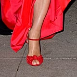 A Leg Slit Allowed Her to Show Off Her Shoes as She Walked