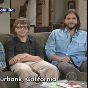 Ashton Kutcher With Two and a Half Men Costars on Letterman