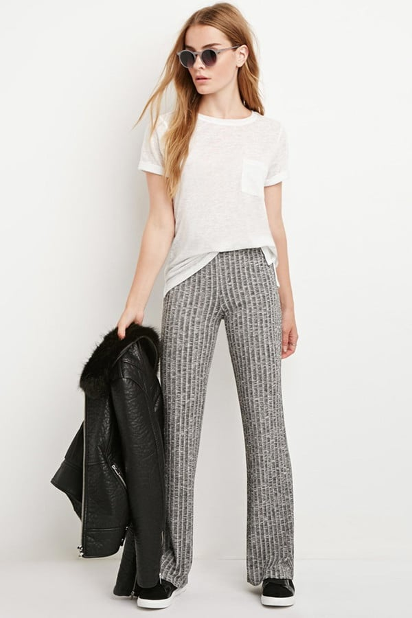 Forever-21-Ribbed-Knit-Flared-Pants-20 Road Trip Essentials–20 Best Outfits For Traveling in Summers