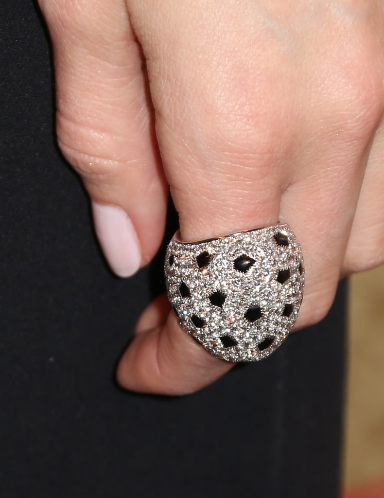 We have serious accessory envy over Allison Williams's white gold, onyx, and diamond Cartier Lobi ring.