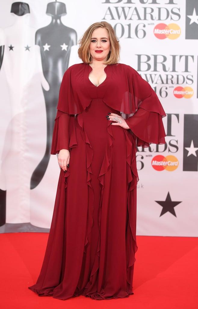 Adeles Dress At The Brit Awards 2016 POPSUGAR Fashion