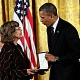 President Obama gave a medal to the wife of former UNC basketball coach Dean Smith, who couldn't attend due to illness.