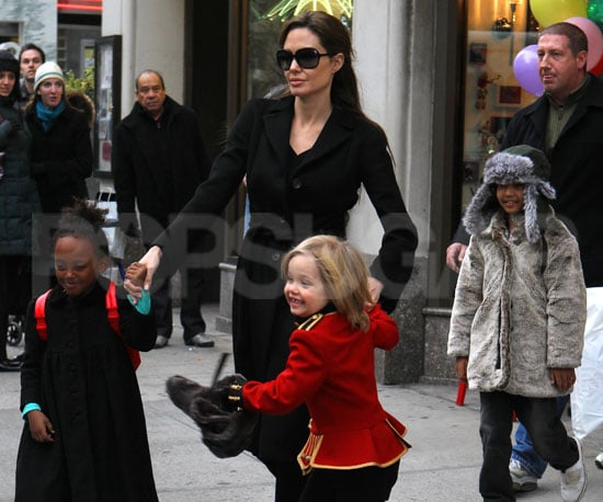 Slide Picture of Angelina Jolie With Shiloh, Zahara, and Maddox in New York