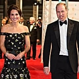 Prince William and Kate Middleton mingled with movie stars at the BAFTA Awards in 2017.