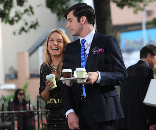 Slide Photo of Becki Newton and Michael Urie on the Set of Ugly Betty in NY with Coffee
