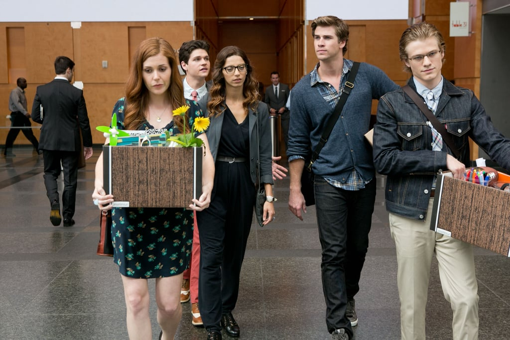 Haley Finnegan, William Peltz, Angela Sarafyan, Liam Hemsworth, and Lucas Till in Paranoia.